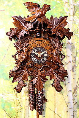 Black Forest Cuckoo Clock 1 day carved new mechanical handmade wood
