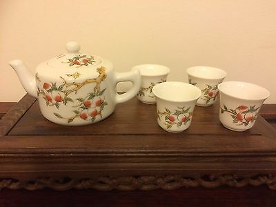 Chinese Porcelain Tea Or Wine Set 1 Pot 4 Cups With Peaches