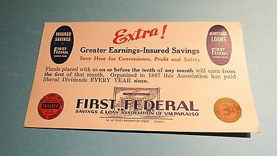 Vintage Banking Advertising Card First Federal S & L Of Valparaiso Indiana !!!