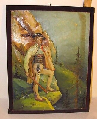 Vintage German Relief Dimensional Wood Picture Hand Carved Alpine Mountain Man