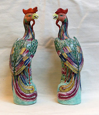 Pair Of Chinese Porcelain Phoenix With A Polychrome Decoration - 20Th Century