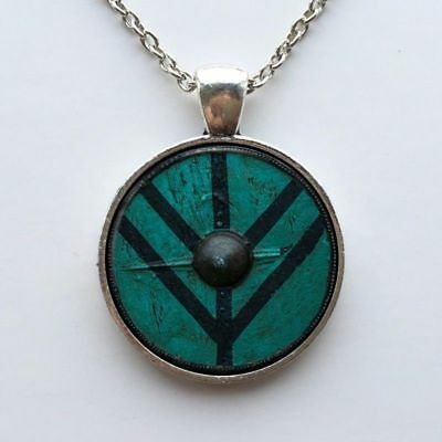 The Vikings Shield Of Lagertha Pendant Necklace amulet Cothic Glass Cabochon