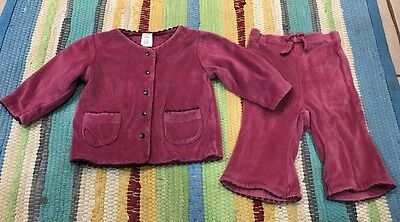 Baby Gap Toddler Girls 2 Piece Maroon Outfit Size 3-6 Mos