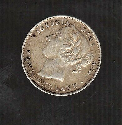 1896 NEWFOUNDLAND SILVER 20 CENT Low Mintage Coin 125,000 ONLY EXCELLENT DETAIL