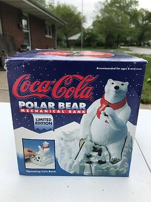 Coke Coca Cola Polar Bear Mechanical Bank 1995 Ertl Metal Limited Edition MIB
