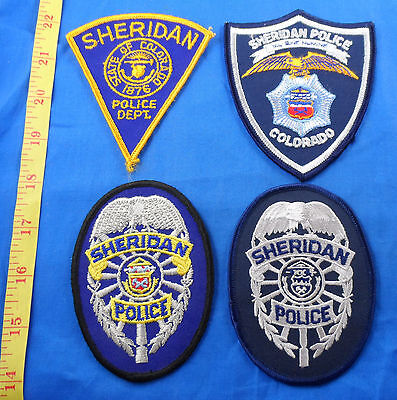 Vintage Sheridan Police Colorado Patch Lot Of 4 -Free Us Shipping
