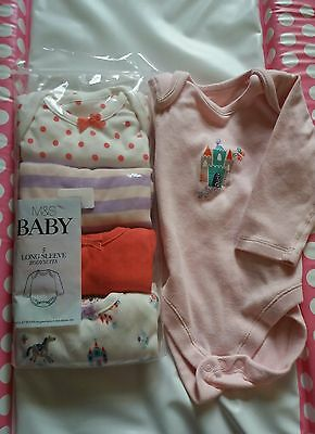 marks and Spencer m&s long sleeve vests bodysuits 6-9 most bnwt