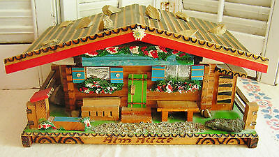 Large Vintage Bavarian Swiss Chalet Hand Carved Music Box with Diorama of Jesus
