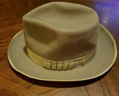 Vintage Steins Fedora Fur Felt Hat with grosgrain band -  Size 6 3/4 (Small)