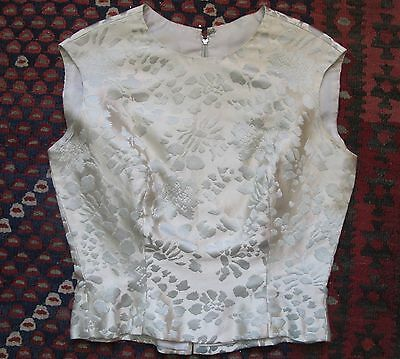 Sweet Vintage Mod 60's Pale Blue Pewter Silk BROCADE Tank Top Shirt