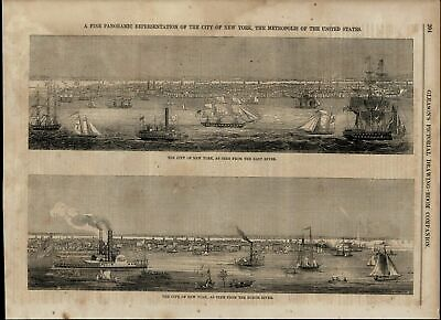 New York View Sailboats Steamships Skyline nice wonderful 1853 unusual old print