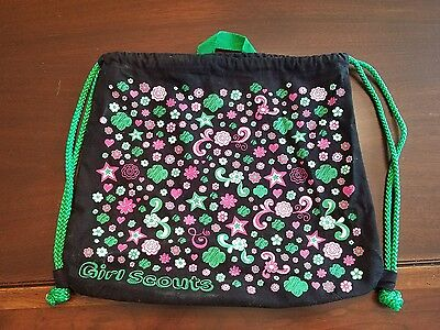 Girl Scout Drawstring Bag Backpack Black Daisy Brownie Junior EUC