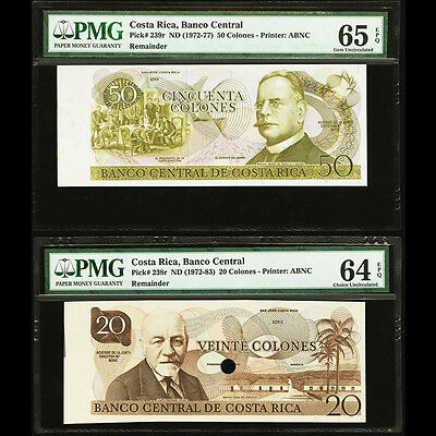 Costa Rica 20 & 50 Colones Remainders Proof PMG 64 & 65 EPQ Gem & Choice UNC