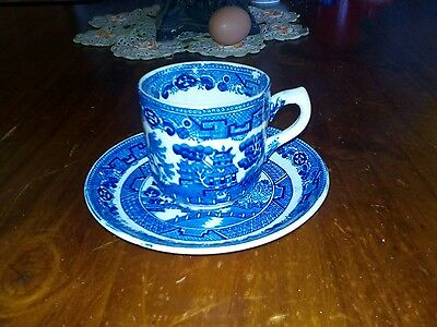 Allertons. England Blue Willow antique cup and saucer