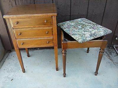 Antique oak sewing set - small cabinet and tapestry seat with storage.