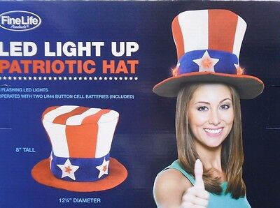 Patriotic Fourth Of July 4Th Led Light Up Top Hat New!