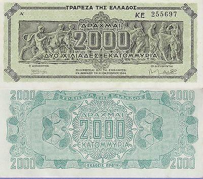 Greece 2,000,000,000 Drachmai Banknote 1944 Uncirculated Condition Cat#133-A