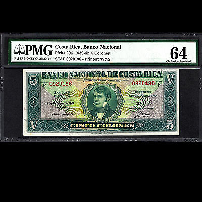 Banco Nacional Costa Rica 5 Colones 1942 Waterloo & Sons PMG 64 Choice UNC P-204