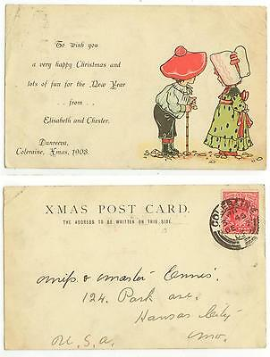 1903 Coleraine Ireland greeting card from Elisabeth and Chester Dunreeva to US