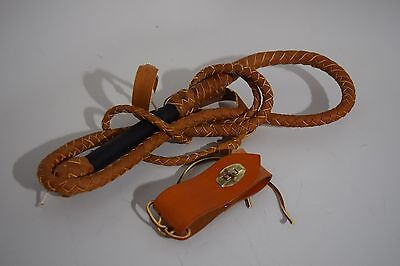 Western Hollywood Mark Allen Productions Bull Whip and Carrier Brown EUC