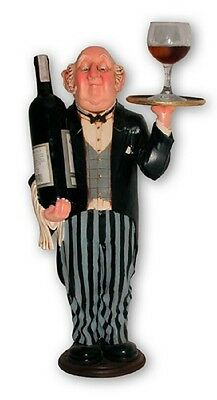 Connoisseur Wine Waiter 2ft Statue Home Bar  Cafe Resturant Art Decor
