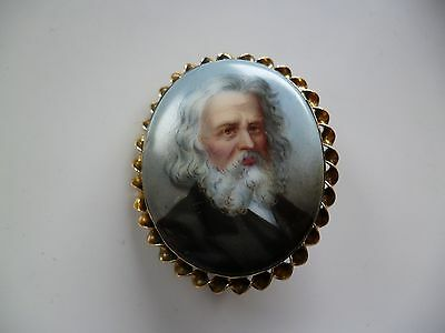 Antique Portrait Miniature Painting of a Gent in Gold Mount in Brooch form
