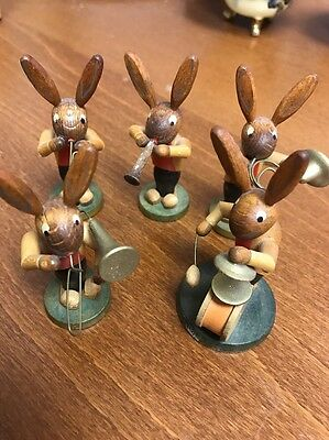 Vintage German Handcrafted Wooden Bunny Rabbit Music Band Figures