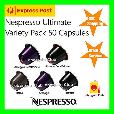 50 Capsules Nespresso Coffee Ultimate Variety Pack Mix Pod Popular eBargainClub