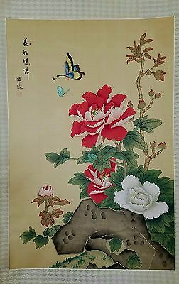 DG07 Large Chinese Hand Painted Scroll Flowers and Butterflies Signed and Sealed