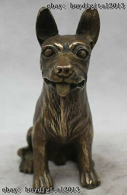 "7""Lifelike China Chinese Bronze Wild Animal Wolf Dog Statue Figure Sculpture"