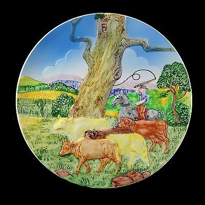 VINTAGE GERMAN handpainted relief wallplate Grizelle Countryside Cattle Droving