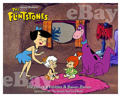 Rare FLINTSTONES Cartoon Color Photo HANNA BARBERA Studios PEBBLES & BAMM BAMM