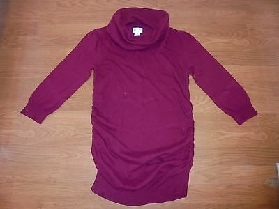 Motherhood Maternity burgundy 3/4 sleeve sweater with runching size M