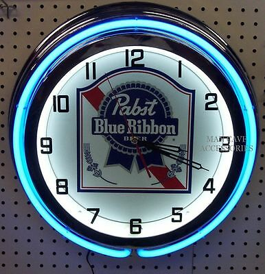 "18"" PABST BLUE RIBBON Beer Sign PBR Double Neon Clock"
