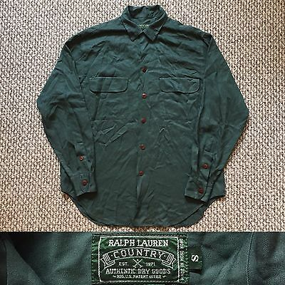 Vintage Vtg Polo Ralph Lauren Country Rayon Long Sleeves Shirt Loop Collar Green