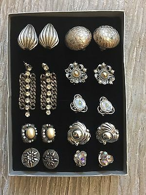 GORGEOUS VINTAGE JEWELLERY JOB LOT OF 9 SILVER TONE EARRINGS. Free P&P