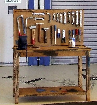 1 clear 1930 wood bench + tools on peg board + Bench clamp for 1/24 + bonus
