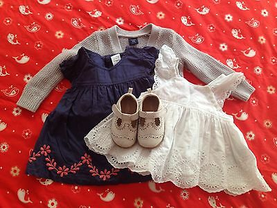 Baby Girls Baby Gap, Pumpkin Patch Shoes And Dresses 12-18 Months