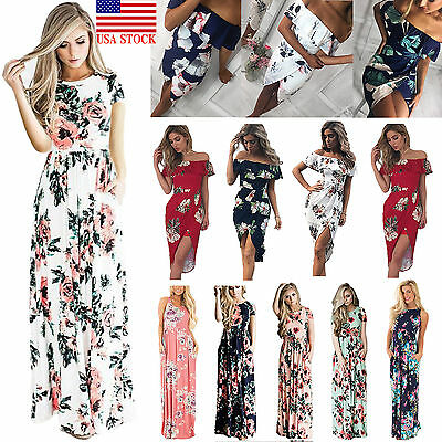 US Womens Floral Print Long Sleeve Boho Dress Evening Gown Party Long Maxi Dress