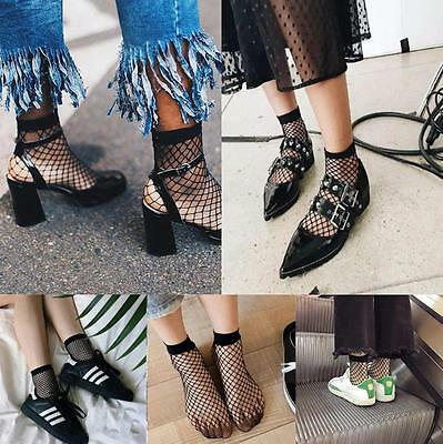 2 pairs US Women Ruffle Fishnet Ankle High Socks Mesh Lace Fish Net Short Socks