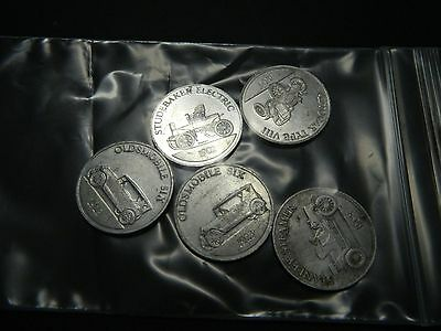 Vintage lot of 1968 Antique Car Coin Series Sunoco Gas - Autocar, Studebaker...