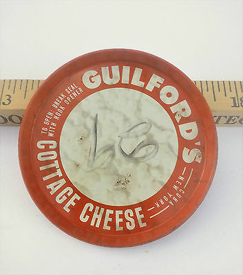 Milk/ Dairy Caps/Lid guilford's Cottage Cheese lid