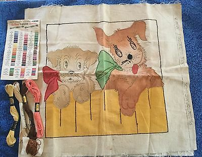 Vintage 40s Vogue Needlecraft No 161B Cute Unfinished Puppy Dogs Pillow Kit