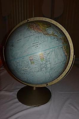 VINTAGE REPLOGLE 12in GLOBE ~ LAND & SEA EDITION w/DUAL AXIS USSR RAISED RELIEF