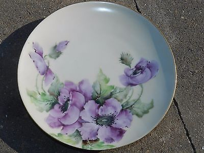 Vtg Antique Bavaria 1914 Artist Signed K Lester Purple Floral Hp Cabinet Plate