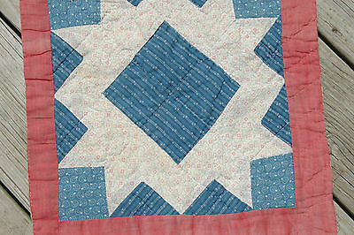 Antique Civil War Quilt Cadet Blue Red Block Piece 14 x 15 Crafting