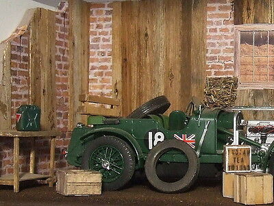 Superb 3D diorama old barn real wooden planks wall  to display model cars 1/24