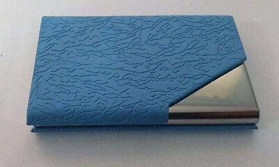 Business Card Holder, PU Leather, Stainless Steel, Credit card ID holder, Blue