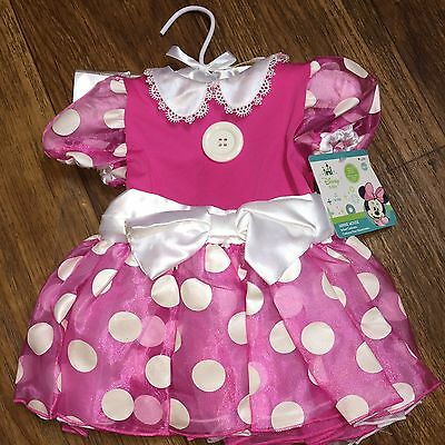 6/12 Mos NWT Minnie Mouse Disney Baby Pink Dress Costume With Headband