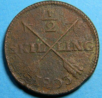 Sweden 1803 1/2 Skilling Coin Km# 565 - Lot # B-070